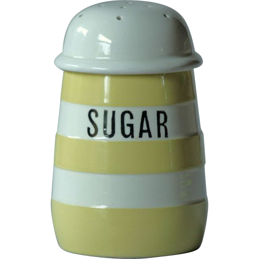T. G. Green YELLOW Banded Cornish Ware SUGAR Shaker - Cornishware