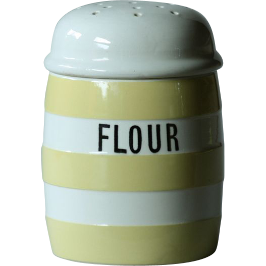 T. G. Green YELLOW Banded Cornish Ware FLOUR Shaker - Cornishware