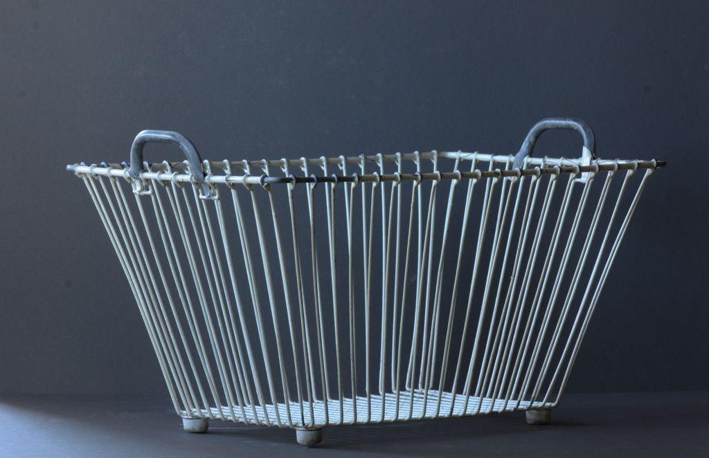 Vintage Industrial Wire / Metal Laundry Basket