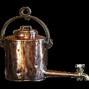 Antique Georgian English Copper Hot Water Kettle Pot