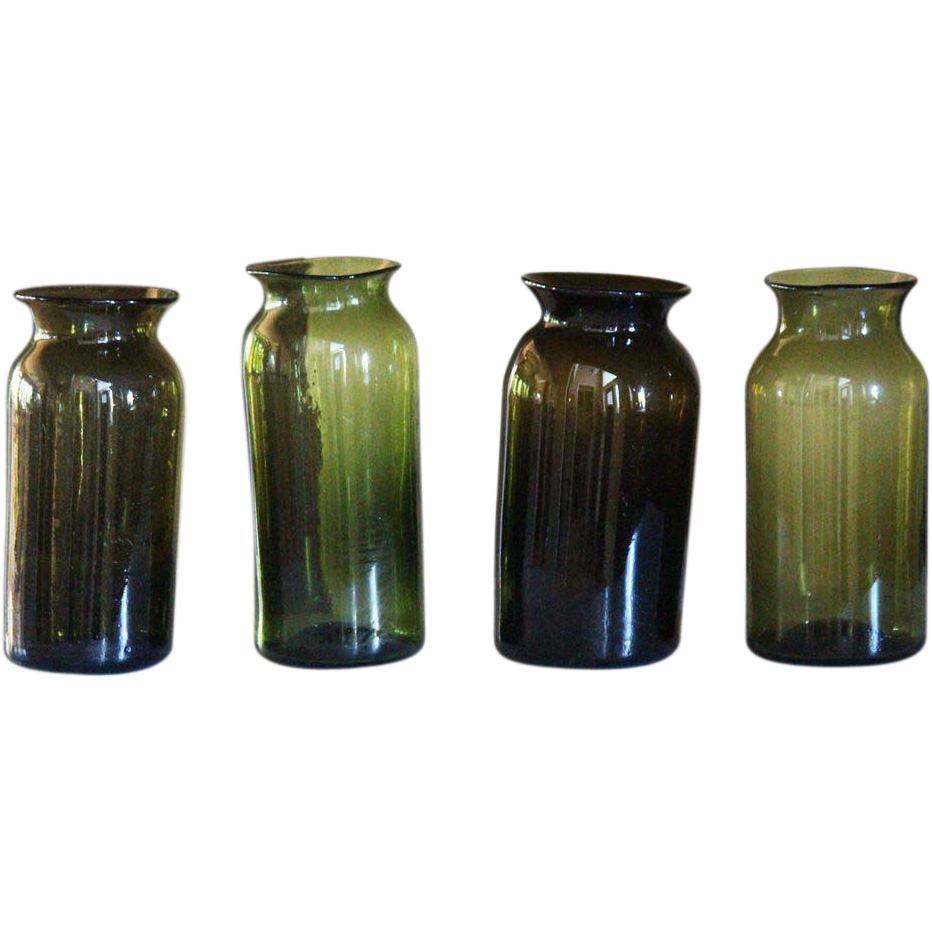 Antique French Glass Cornichons Jars / Vases - 19th Century