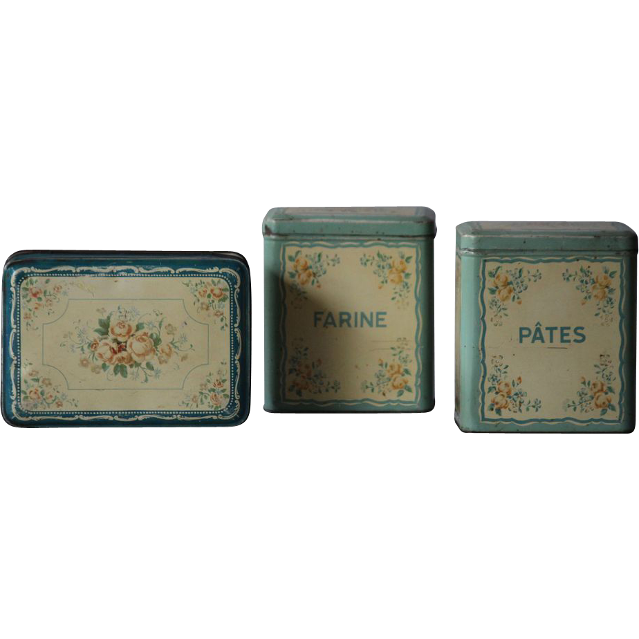 Vintage French Toleware Chocolate Tins - Floral Kitchen Storage Canisters
