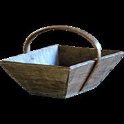 SMALL - Antique French Grape Harvest Trug - Wooden Garden Basket