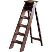 Antique English MINIATURE Step Ladder - 19th Century Salesman's Sample / Apprentice Ladder