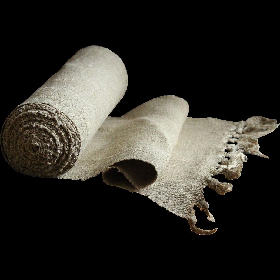 Vintage Hemp Hand-Loomed Cloth - Antique Homespun Textile / Fabric Bolt #2