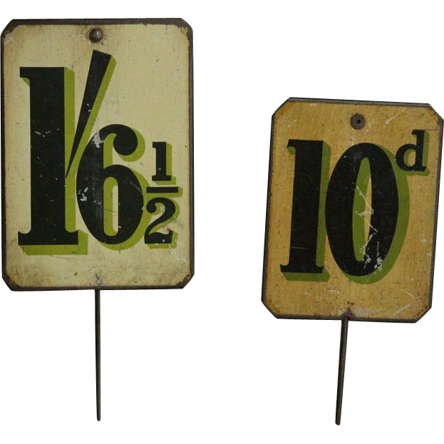 Antique English Tin-Lithographed Grocery Store Price Signs  #2