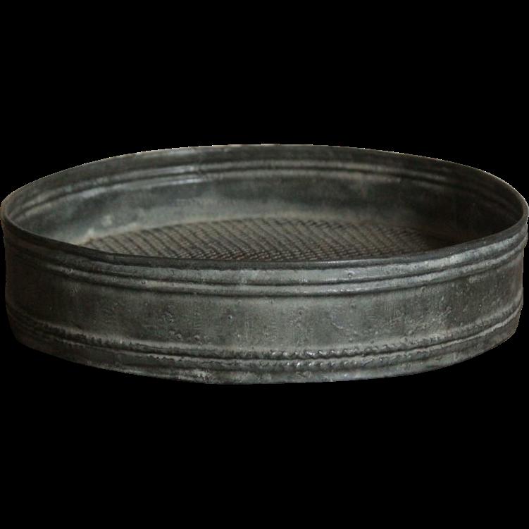 Vintage English Zinc Metal Garden Sieve - Riddle / Sifter