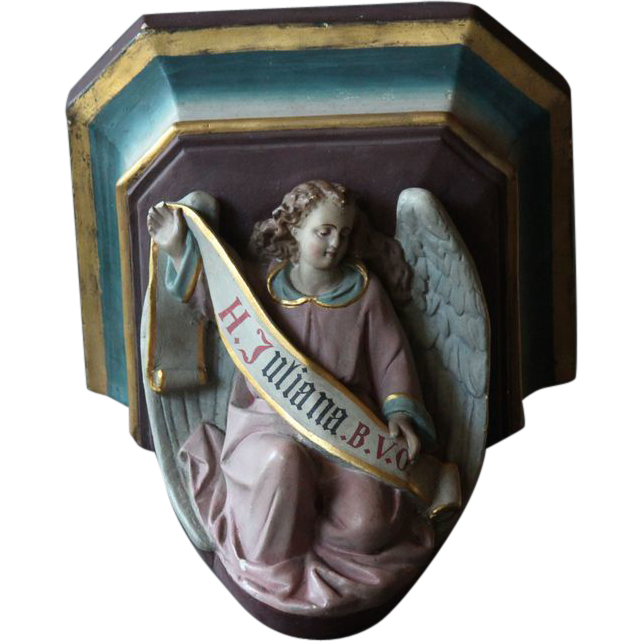 Antique French Plaster Wall Sconce - Religious Polychrome Wall Bracket
