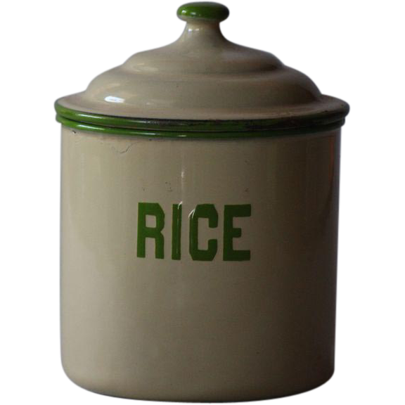 Vintage English Enamelware RICE Kitchen Canister - Graniteware