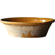 Antique Spanish Yellow-Glazed Terracotta Pottery Bowl