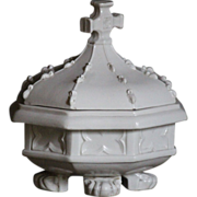 Antique English MINIATURE Church Travelling FONT - MINTON / Victorian