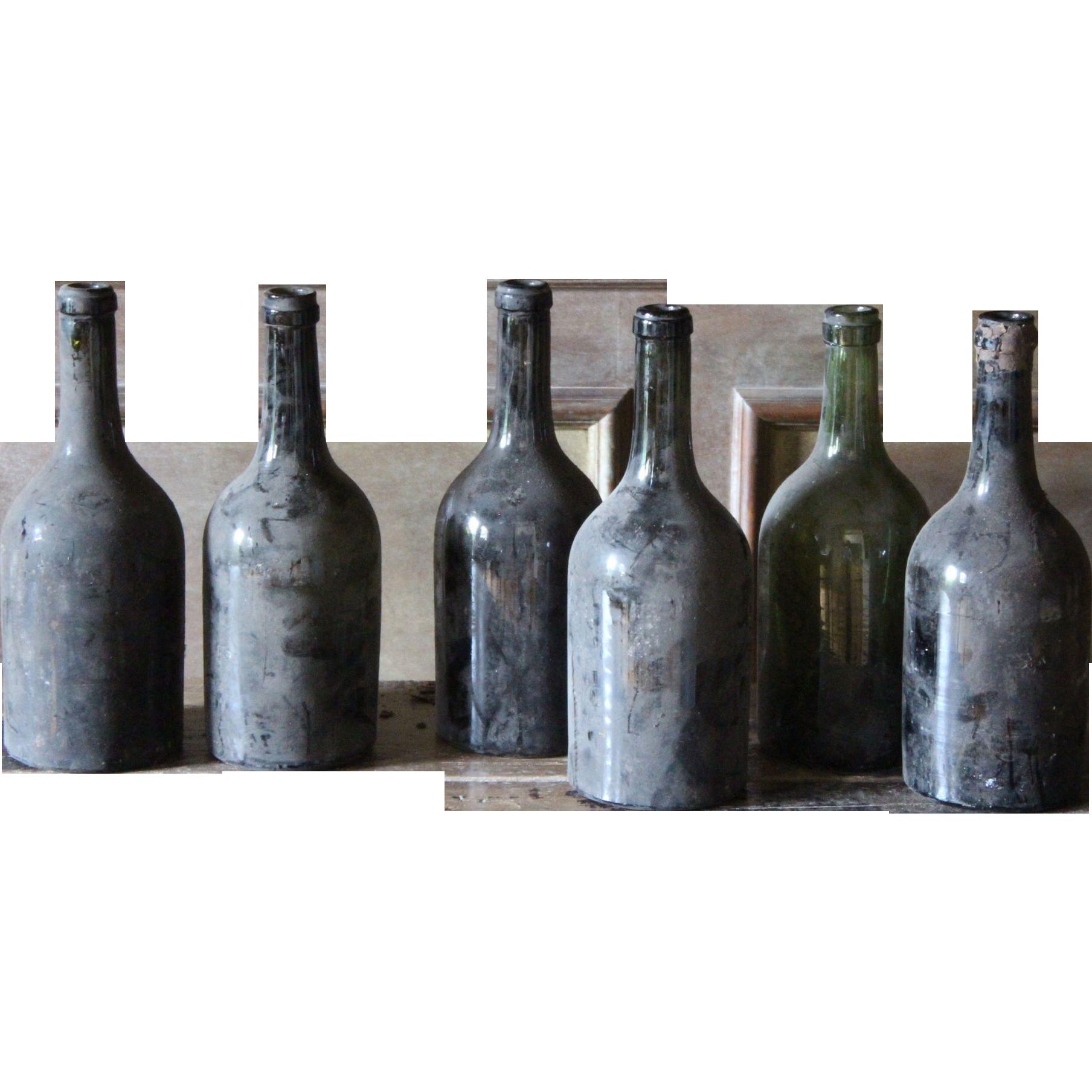 Antique french burgundy wine bottles 19th century glass for Glass bottles for wine