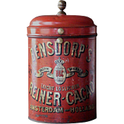 Antique Dutch Bensdorp's Cocoa Shop Display Advertising Tin
