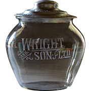 Antique English Wright & Son's Glass Biscuit Jar - Shop Advertising