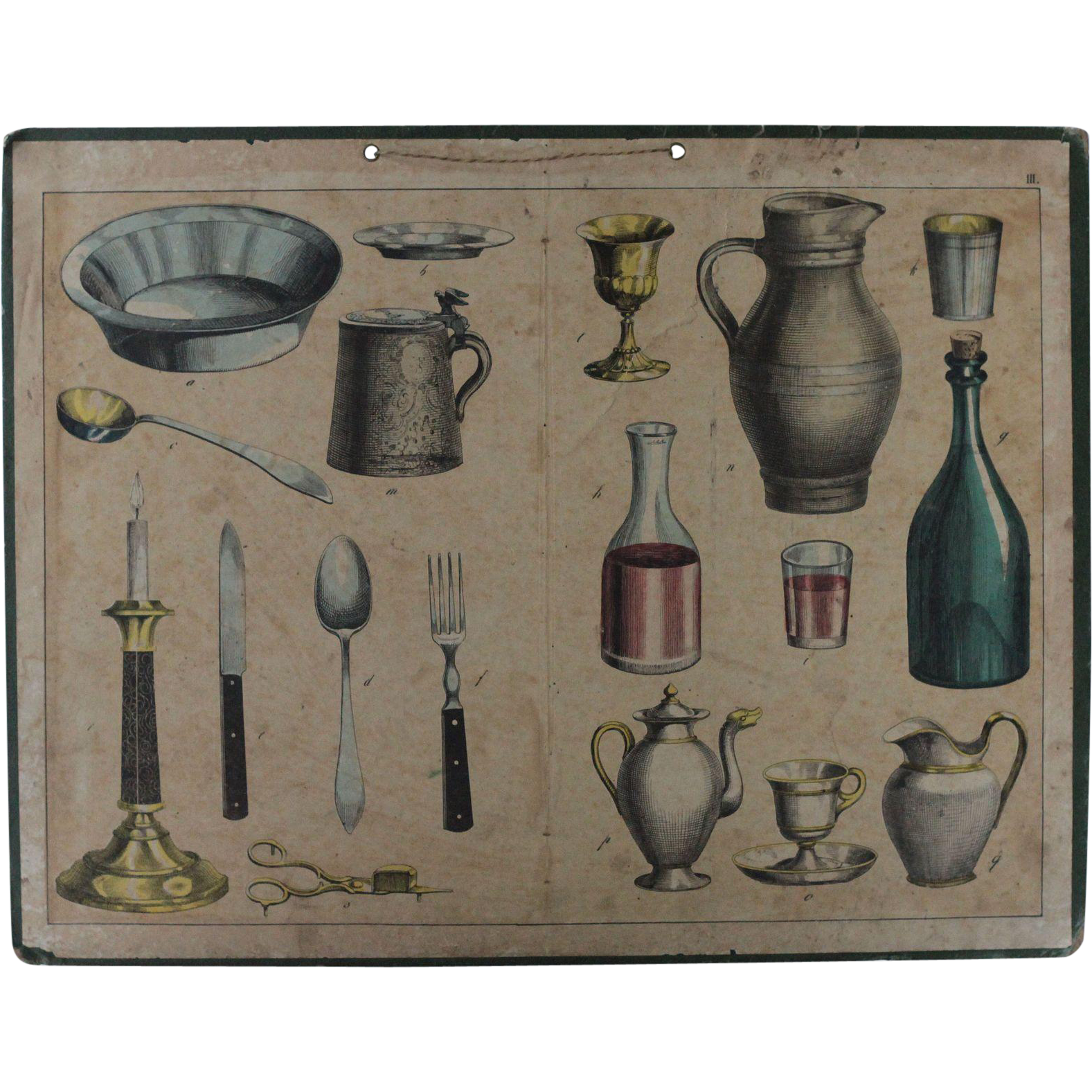 Antique French Copperplate Engraved Print - Kitchenware / Tableware