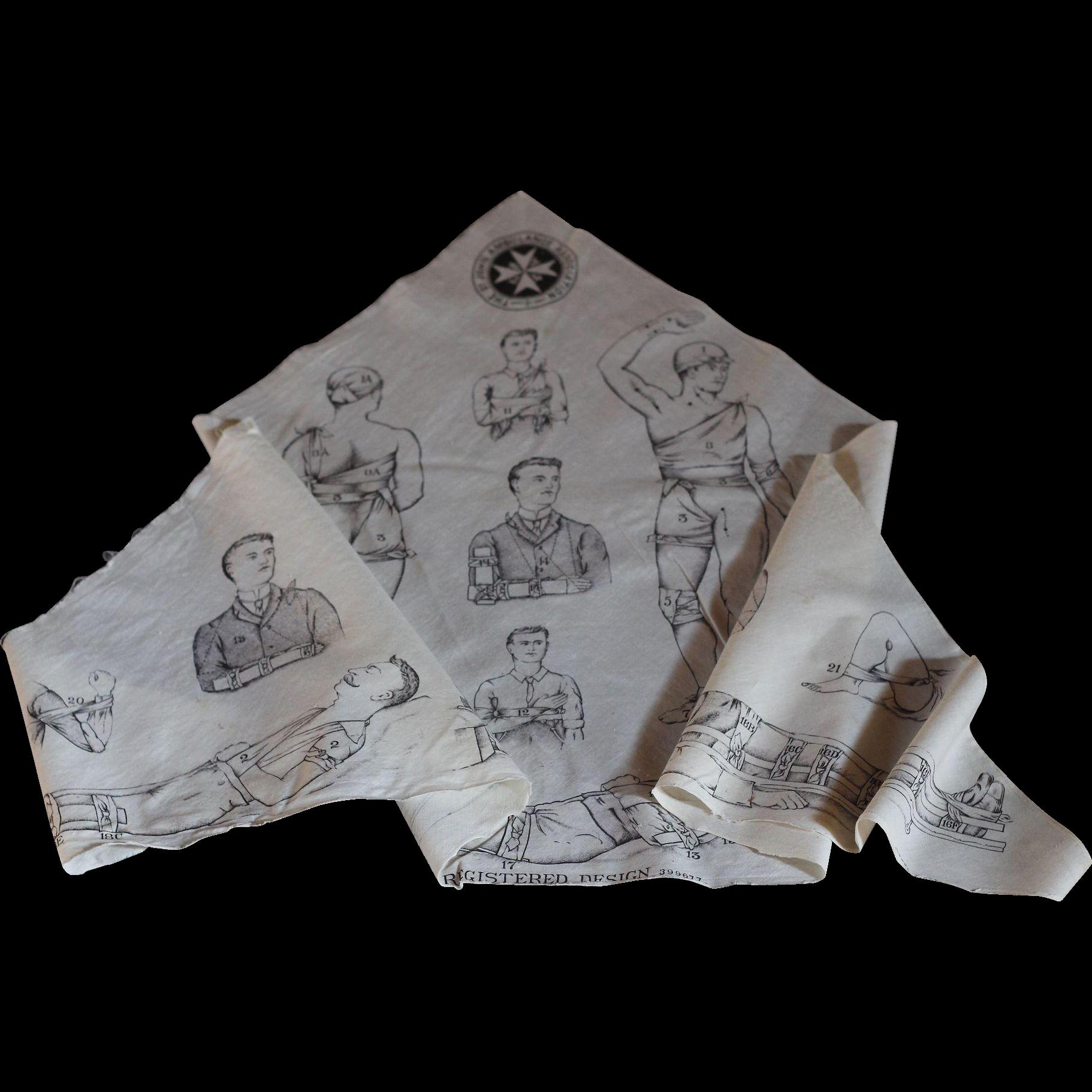 Antique English St John Ambulance Medical Bandage - Illustrated Cotton Sling