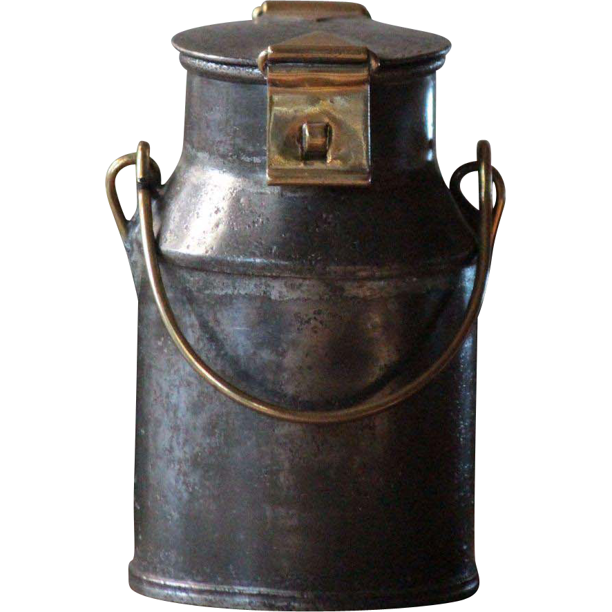 Antique SMALL English Brass & Tinned Steel Dairy MILK Cream CAN - Churn