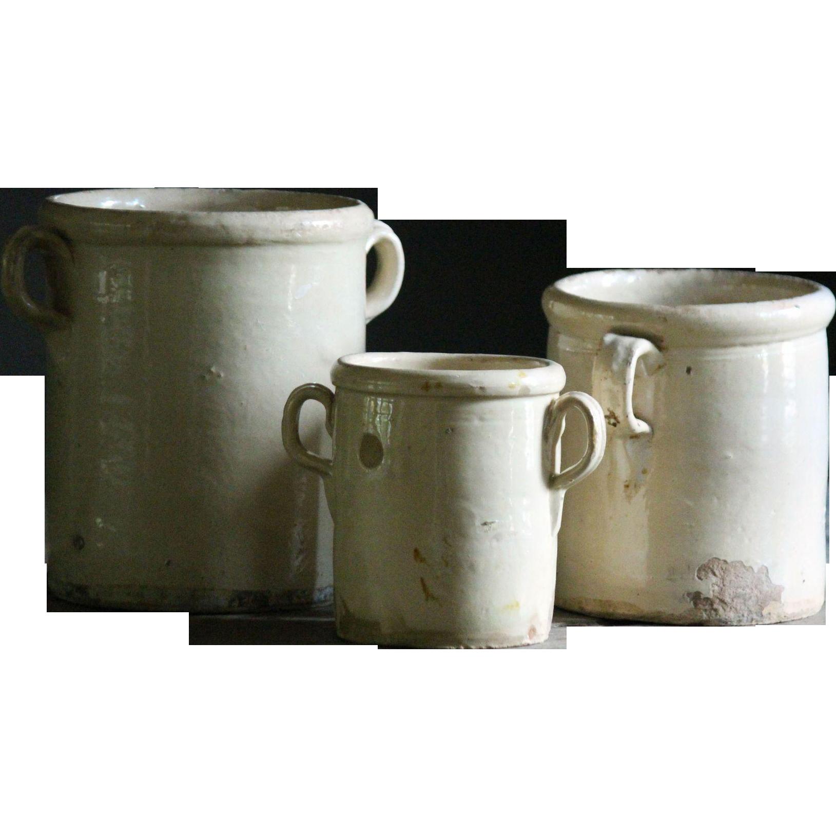 Antique Italian Glazed Confit Pots - 19th Century Terracotta ...