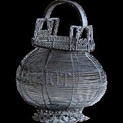 """19th Century French Wirework Basket """"HENRIOT""""- Antique Wire Ware Work Folk Art Basket"""