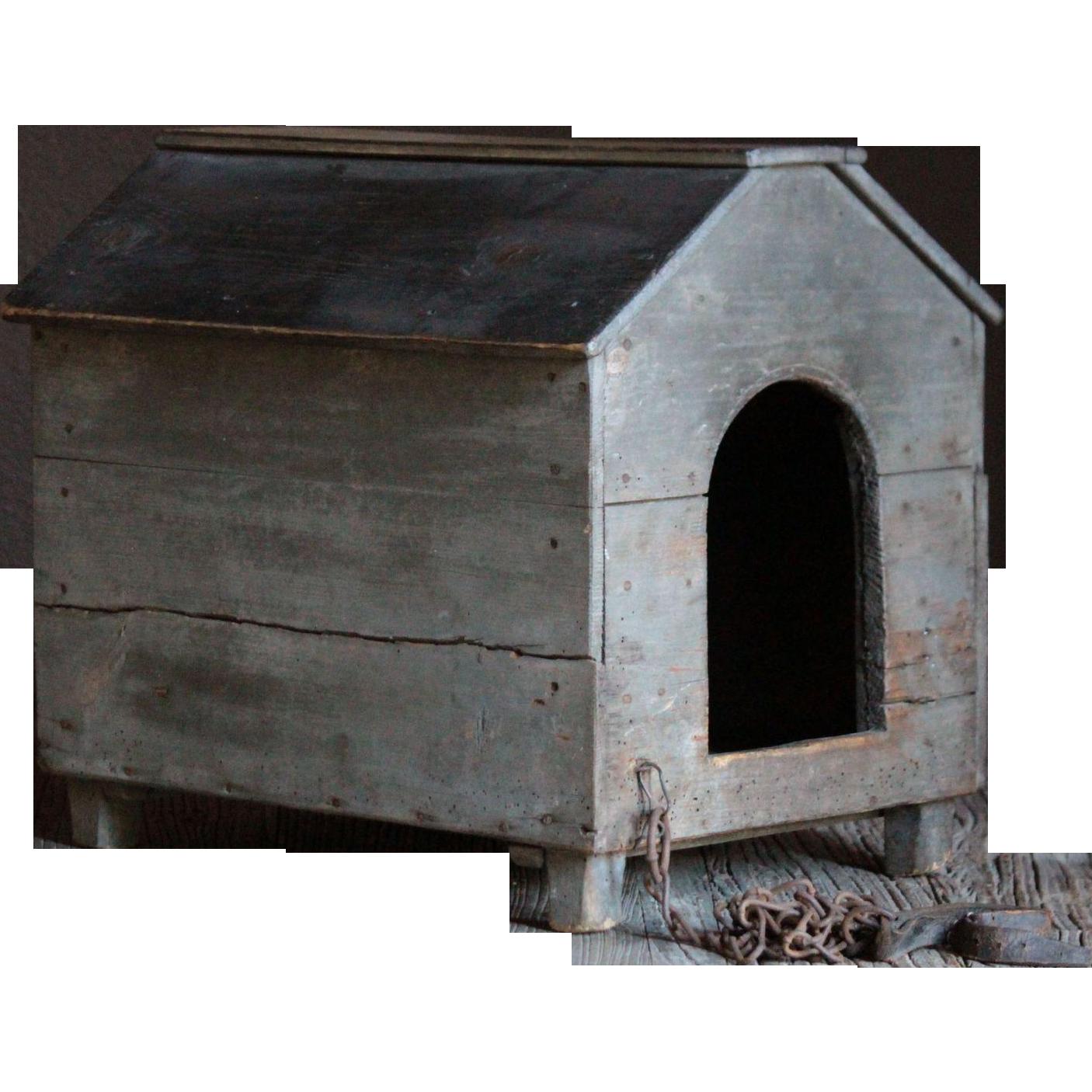 Antique English Folk Art SMALL Painted Dog HOUSE ...