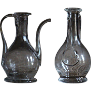 18th Century French Blown Glass OIL jugs - Antique Burette / Cruet - Glass Decanter