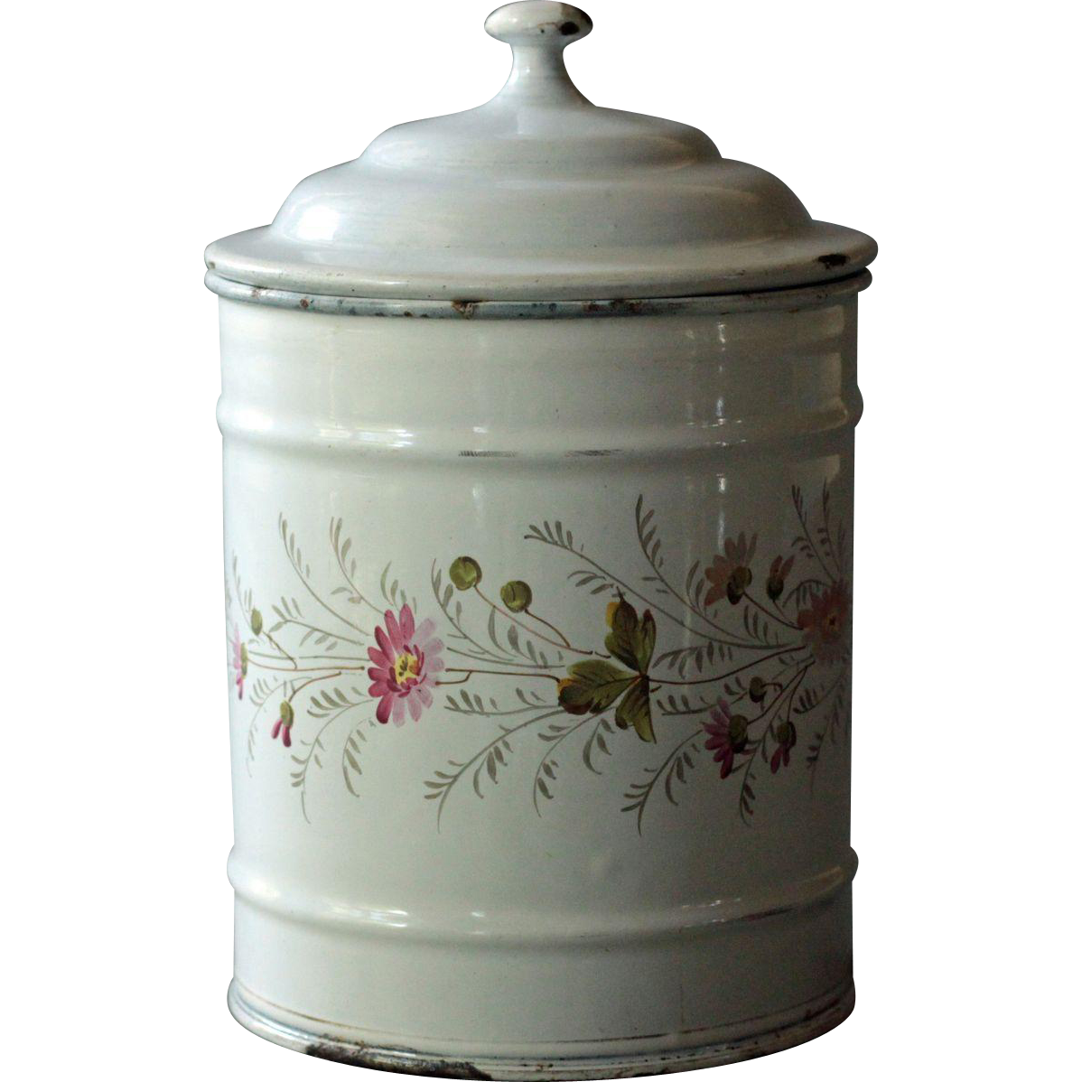 Antique French Enamel Kitchen Canister - C.1900 Floral Enamelware / Graniteware