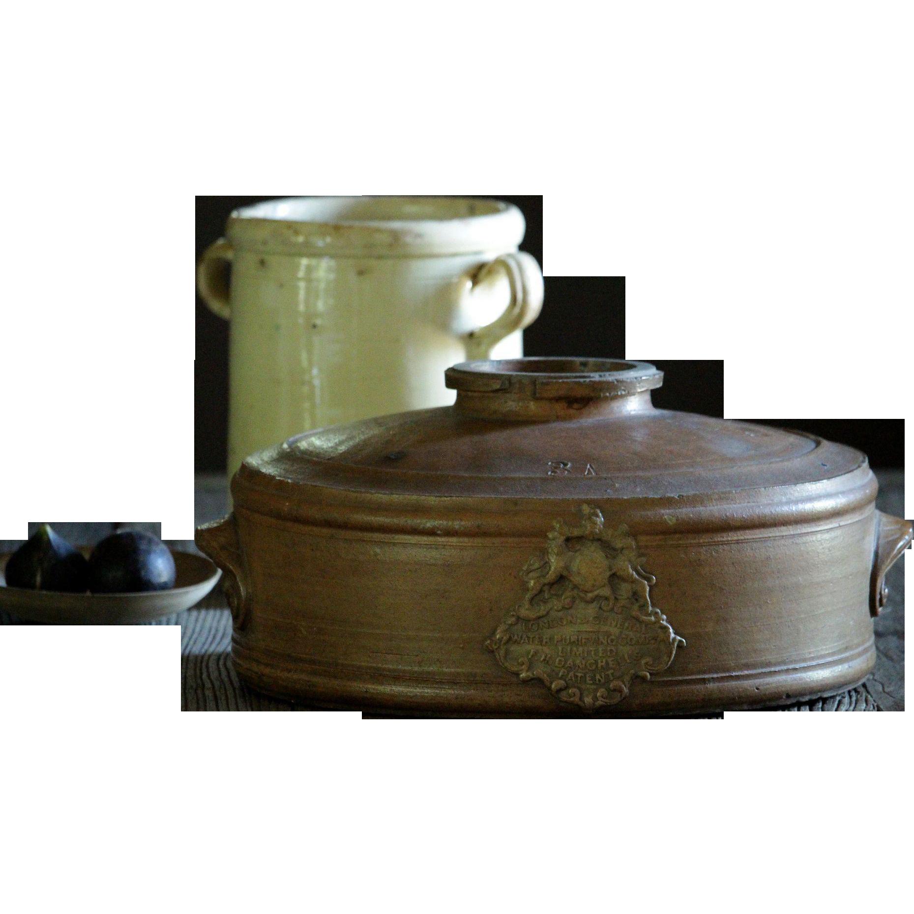 Antique Victorian English Salt-Glazed Stoneware WATER Purifier / Filter - 19th Century Crock