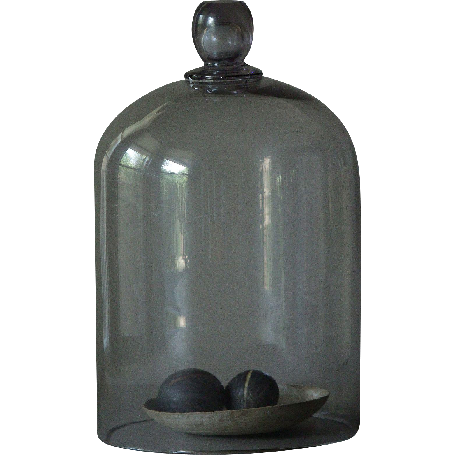 Antique French Glass Garden Cloche - LARGE 19th Century Amethyst Glass Dome Bell Jar