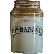 Antique Scottish Stoneware Pottery Jar - PEARLY BARLEY- Kitchen Storage Canister / Caddy