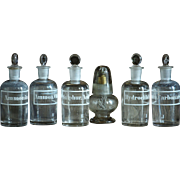 19th Century Chemistry Laboratory Glass Reagent Bottles - Antique Science Lab Glassware