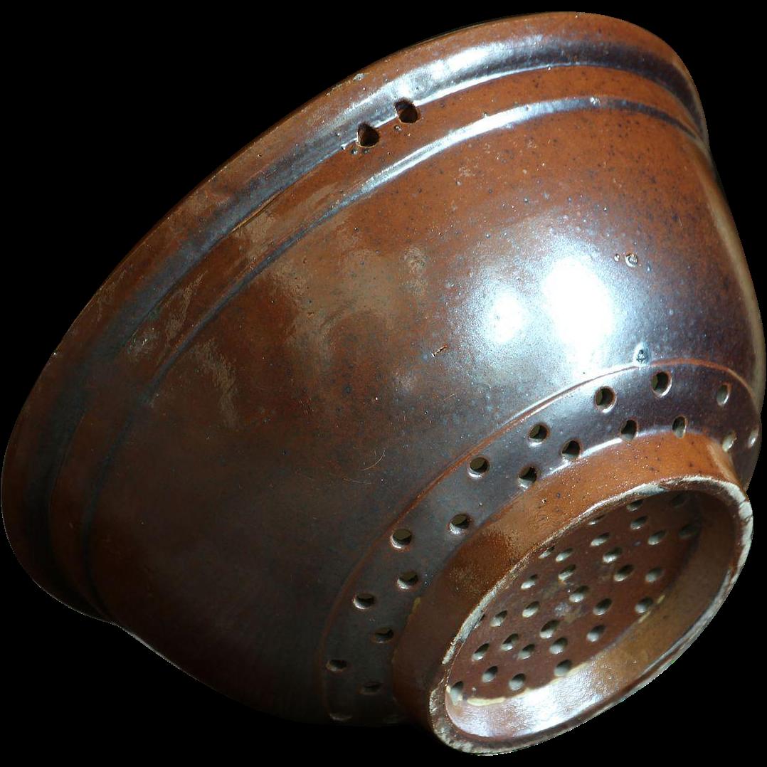 19th Century English Stoneware Colander Bowl - Antique Victorian Salt-Glazed Pottery