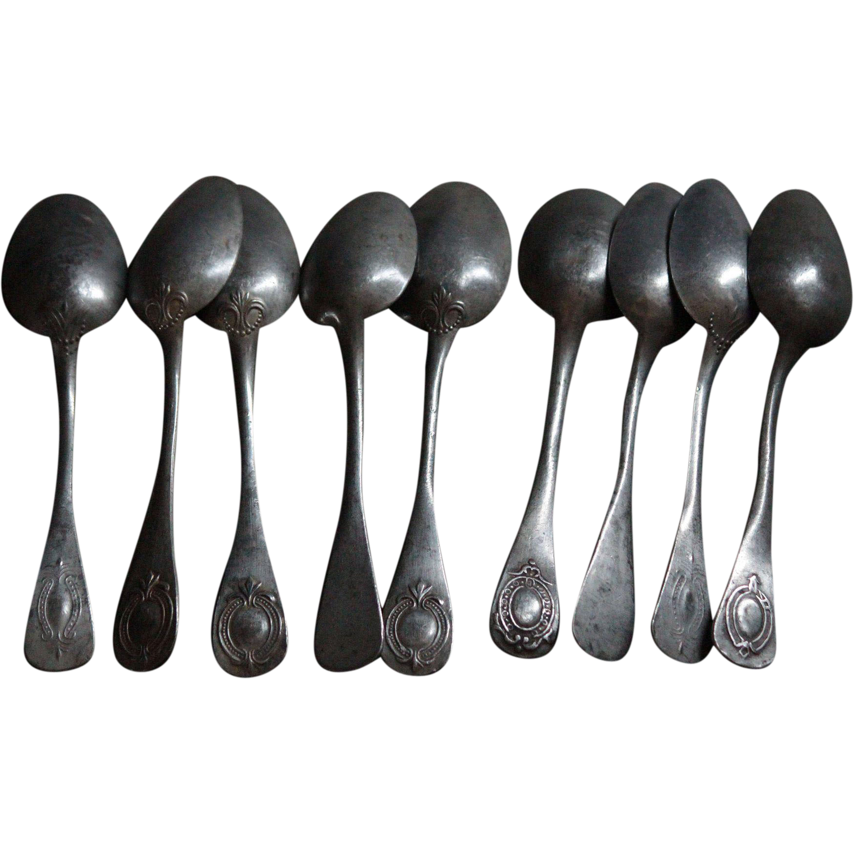 Antique French 19th Century Pewter Spoons & Spatula