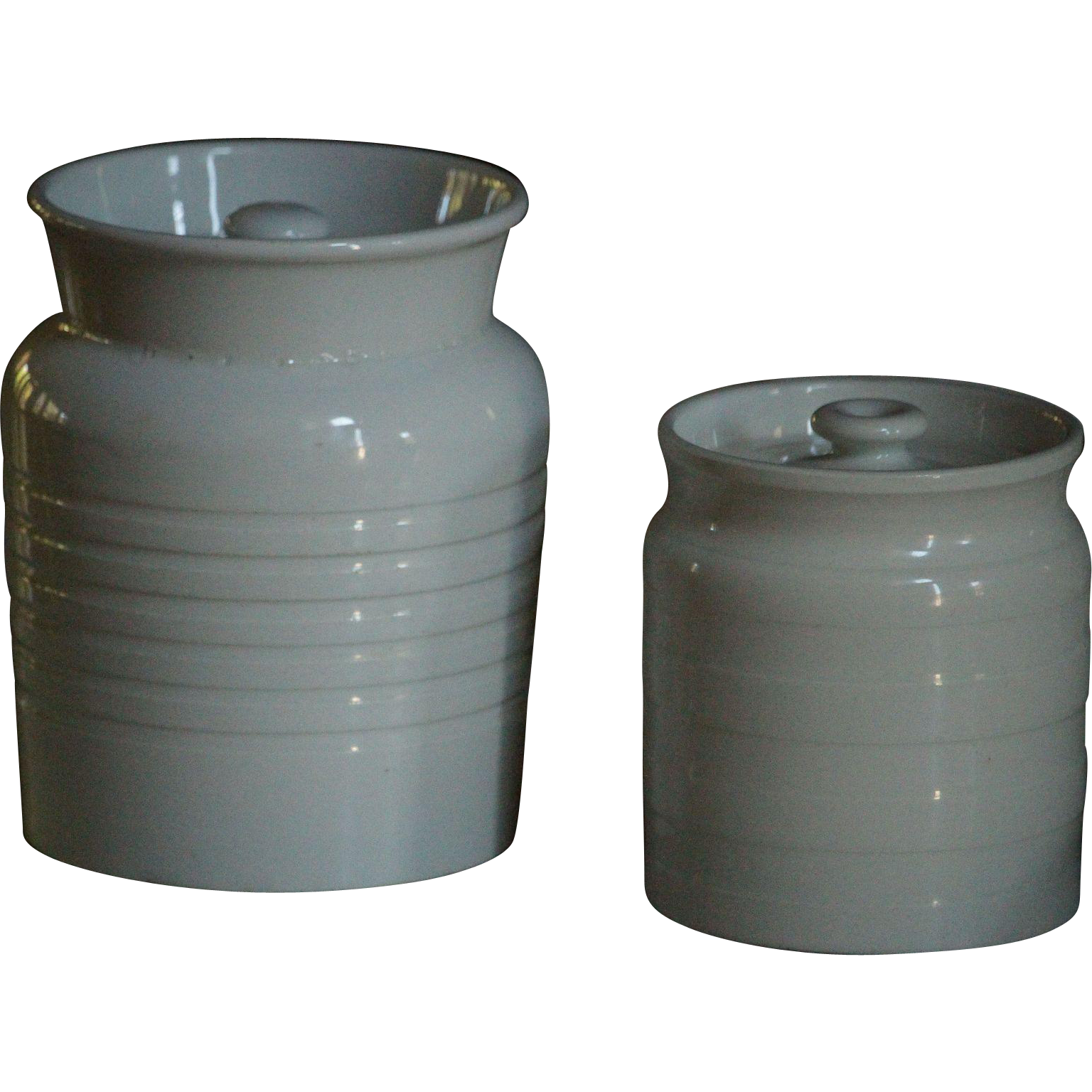 antique english white banded kitchen storage jars from eantiques