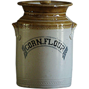 Antique Scottish Stoneware Pottery Storage Jar - CORN FLOUR