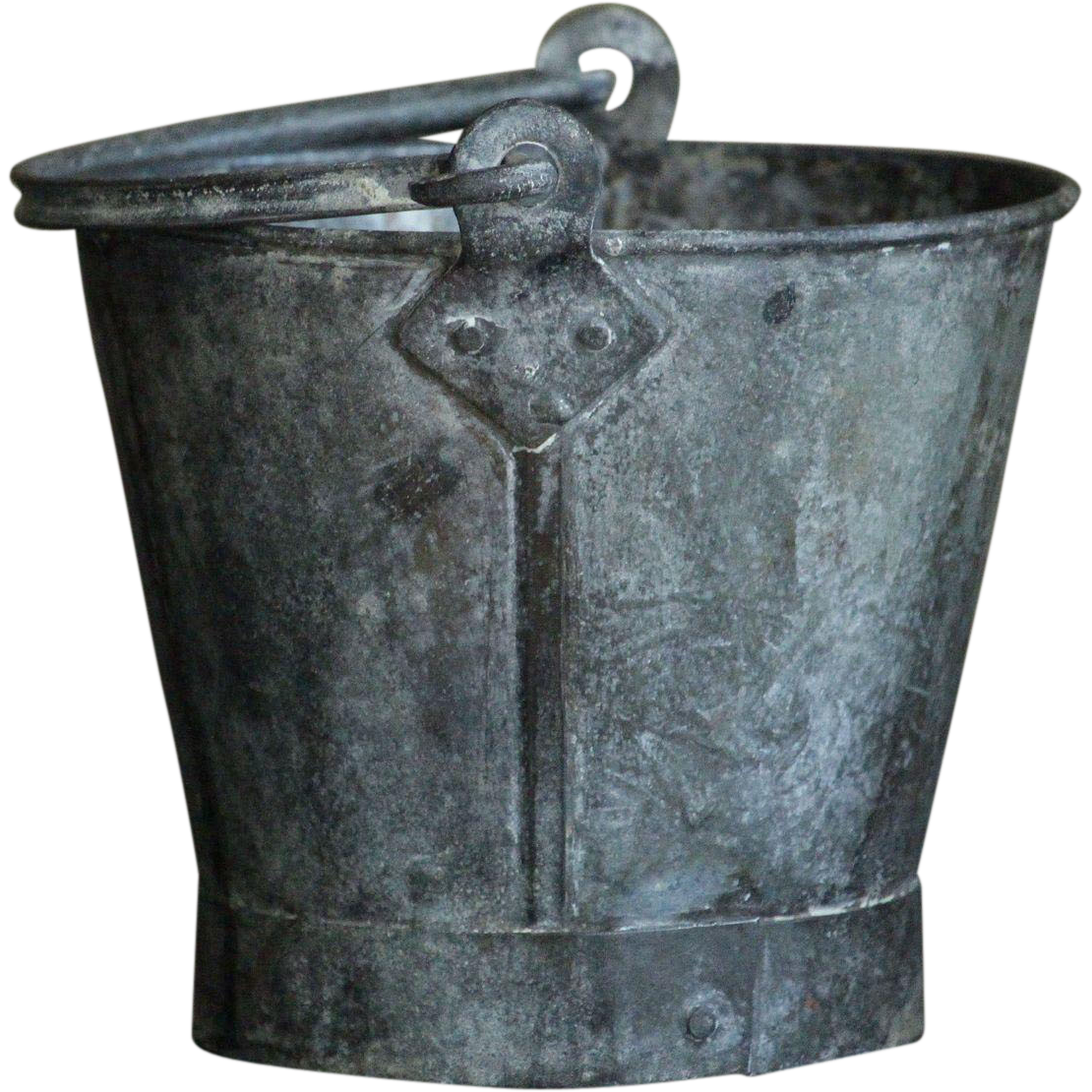 Antique SMALL Child - Size ENGLISH  Galvanized Metal PAIL - Mini Garden Bucket