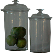 19th Century French Blown Glass Jars - Antique Apothecary / Chemist / Pharmacy