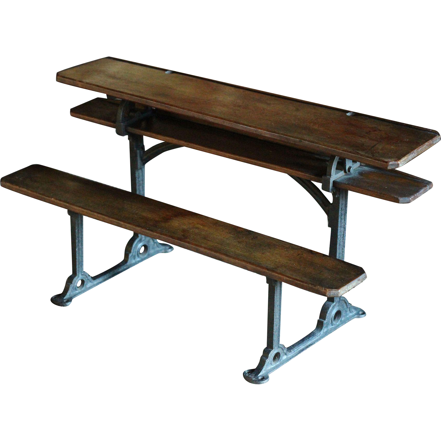RARE Antique Victorian English SCALE Model - School Desk Row - 19th Century SALESMAN'S Sample / Apprentice Piece
