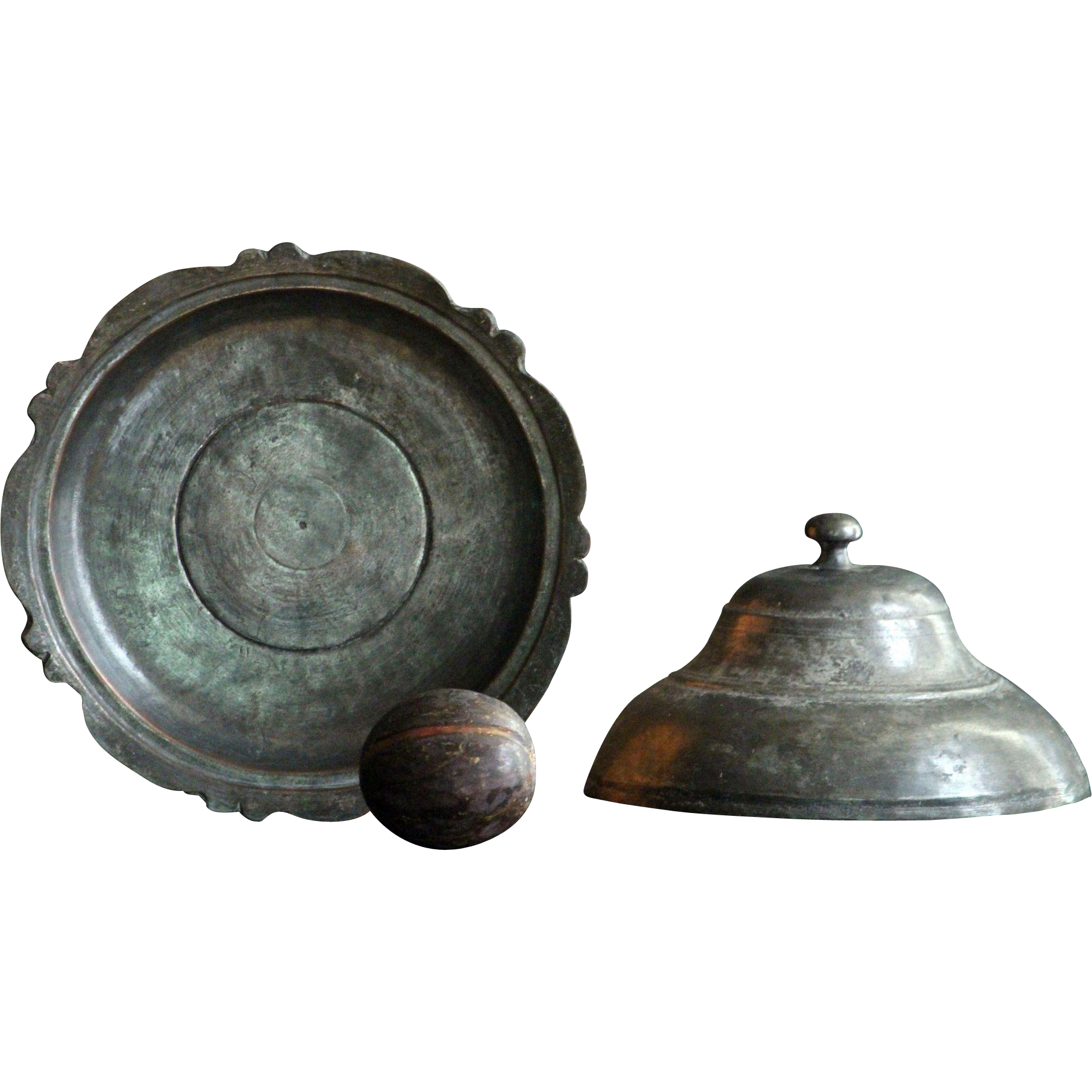 19th Century Turkish Ottoman Empire COPPER Tinned Dish - Antique Lidded Serving Bowl / Dish