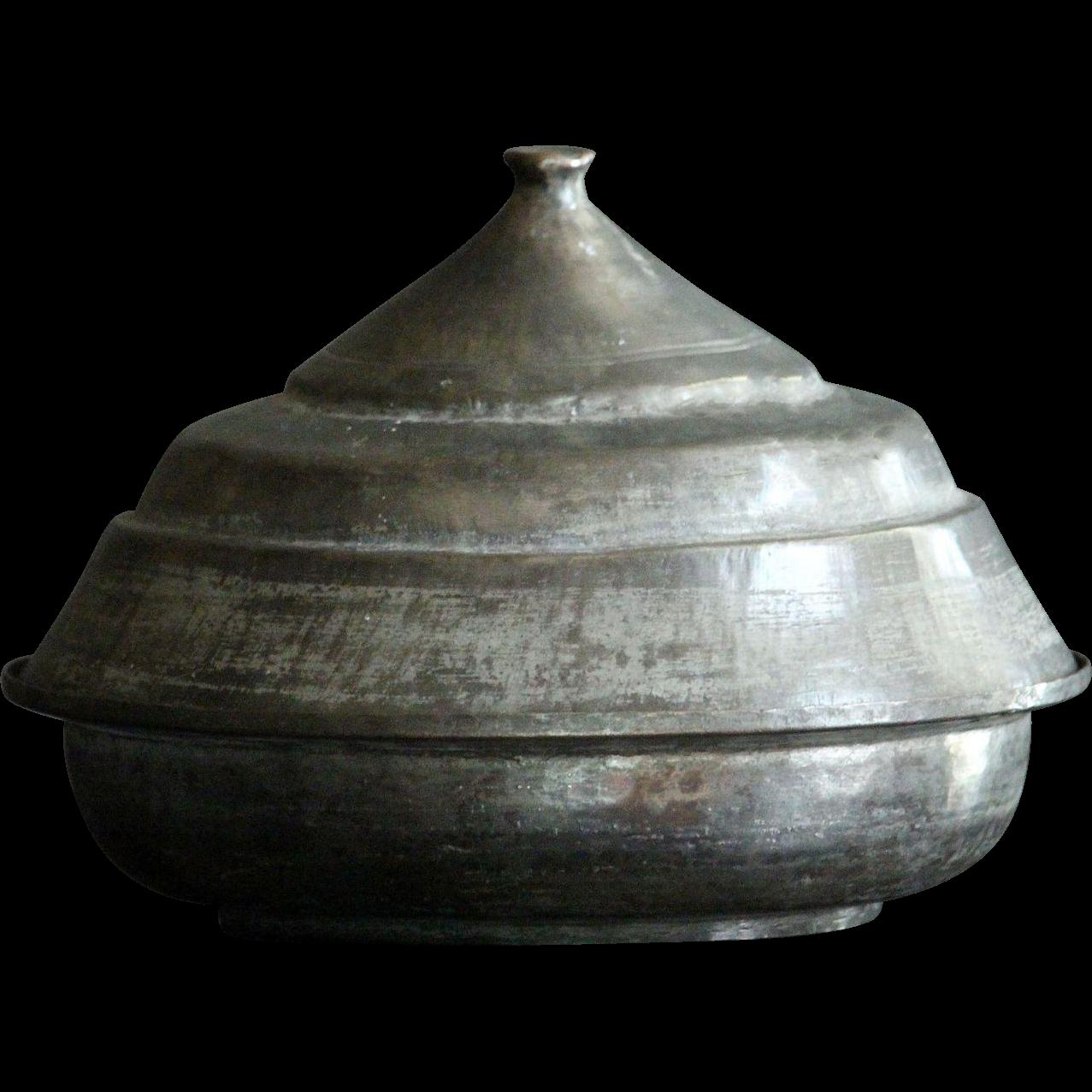 19th Century Turkish OTTOMAN Empire Tinned Copper Serving Dish & Lid