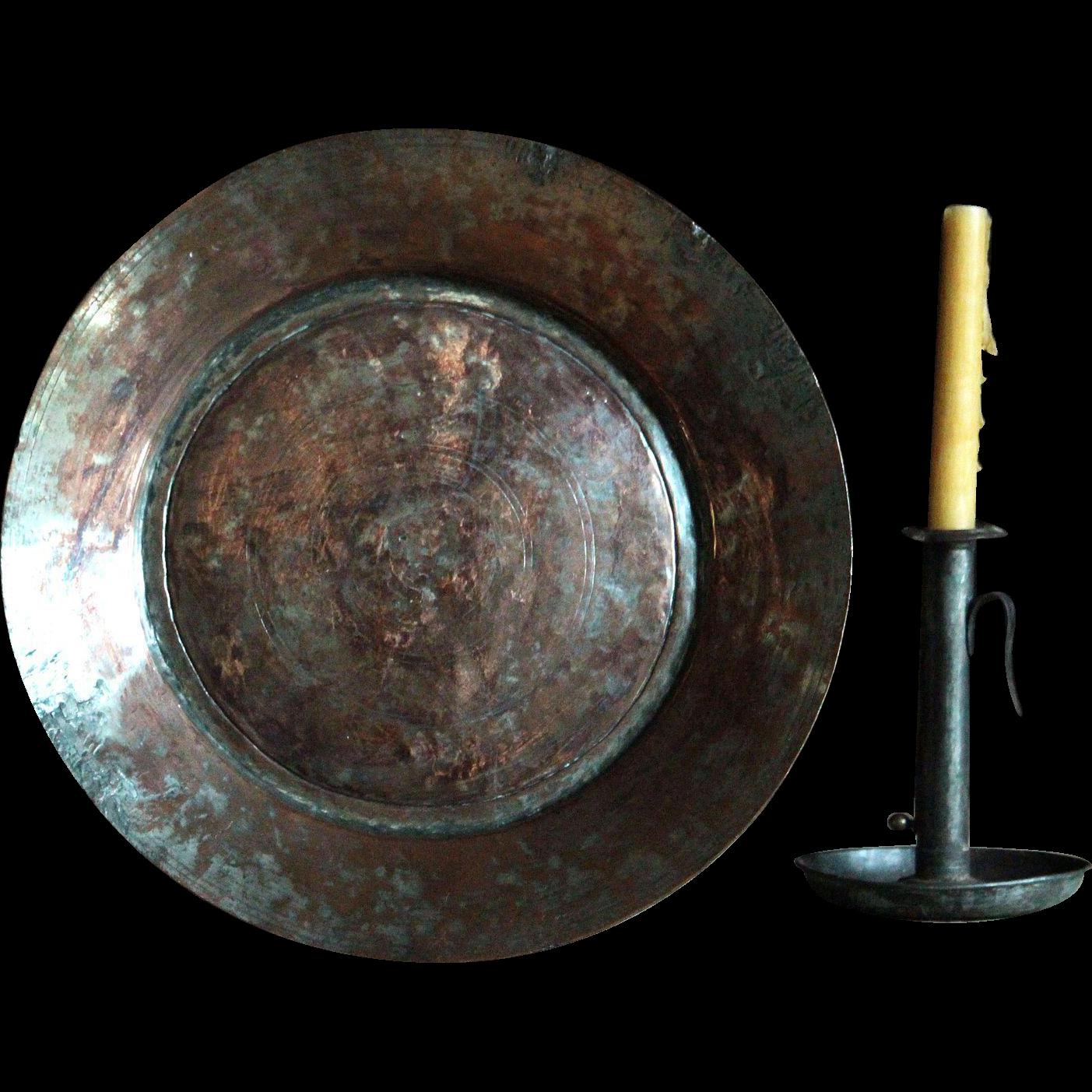 18th Century Ottoman Copper Plate - Antique Tinned Copper Serving Dish