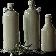 Antique French Stoneware Cider Bottles - English Ginger Beer Bottle