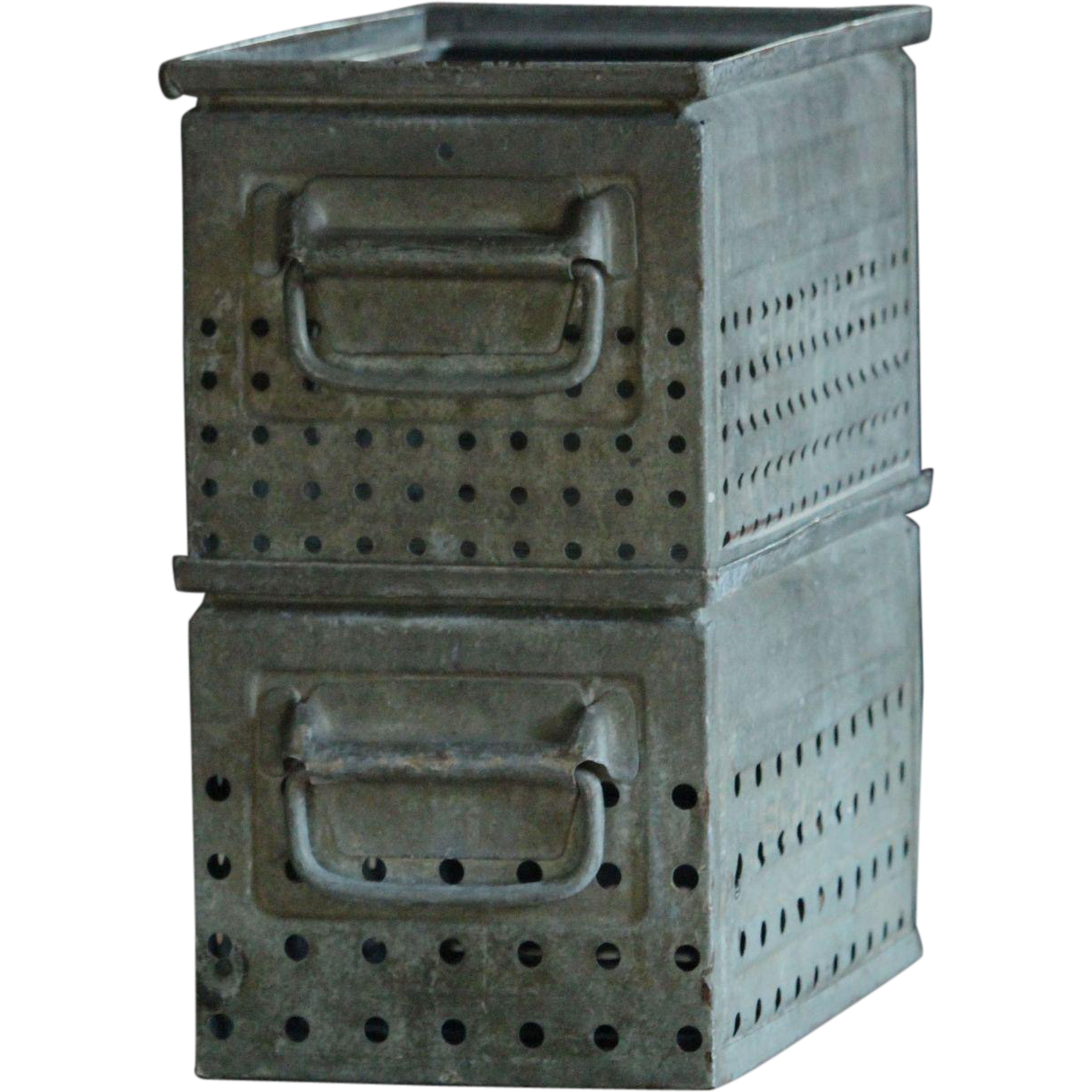 Vintage Industrial Factory Metal Storage Bins / Boxes / Totes
