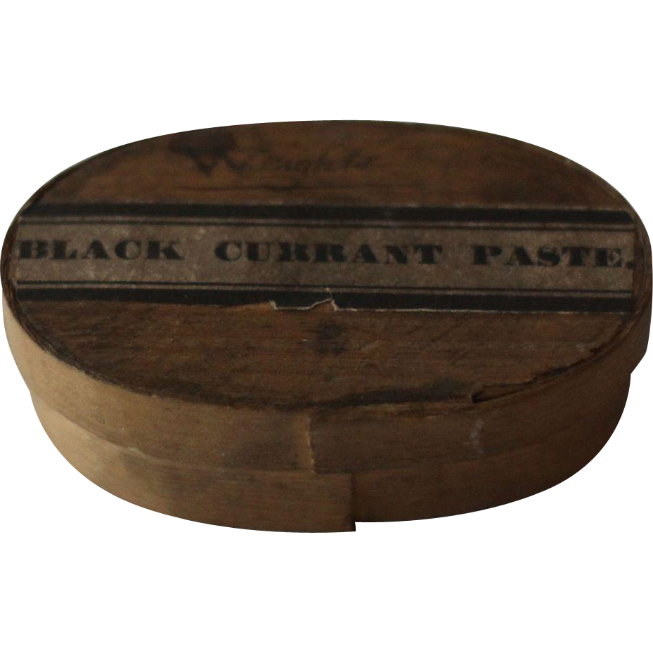 19th Century Antique English Bentwood Pantry Box --- Black Currant Paste