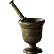 18th Century Antique Brass Apothecary Mortar and Pestle