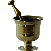 18th Century Antique English Chemist's Apothecary Brass Mortar and Pestle