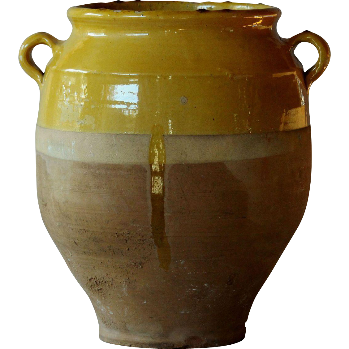 Antique French Yellow-Glazed Confit Pot - LARGE