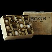 Vintage English Pottery Dummy Hen Eggs & Excelsior Egg Box