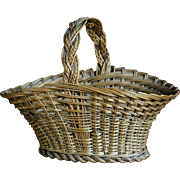 Antique English SMALL Wicker Posy / Flower Basket