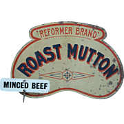 English Tin Lithographed Butcher's Roast Mutton Shop Sign