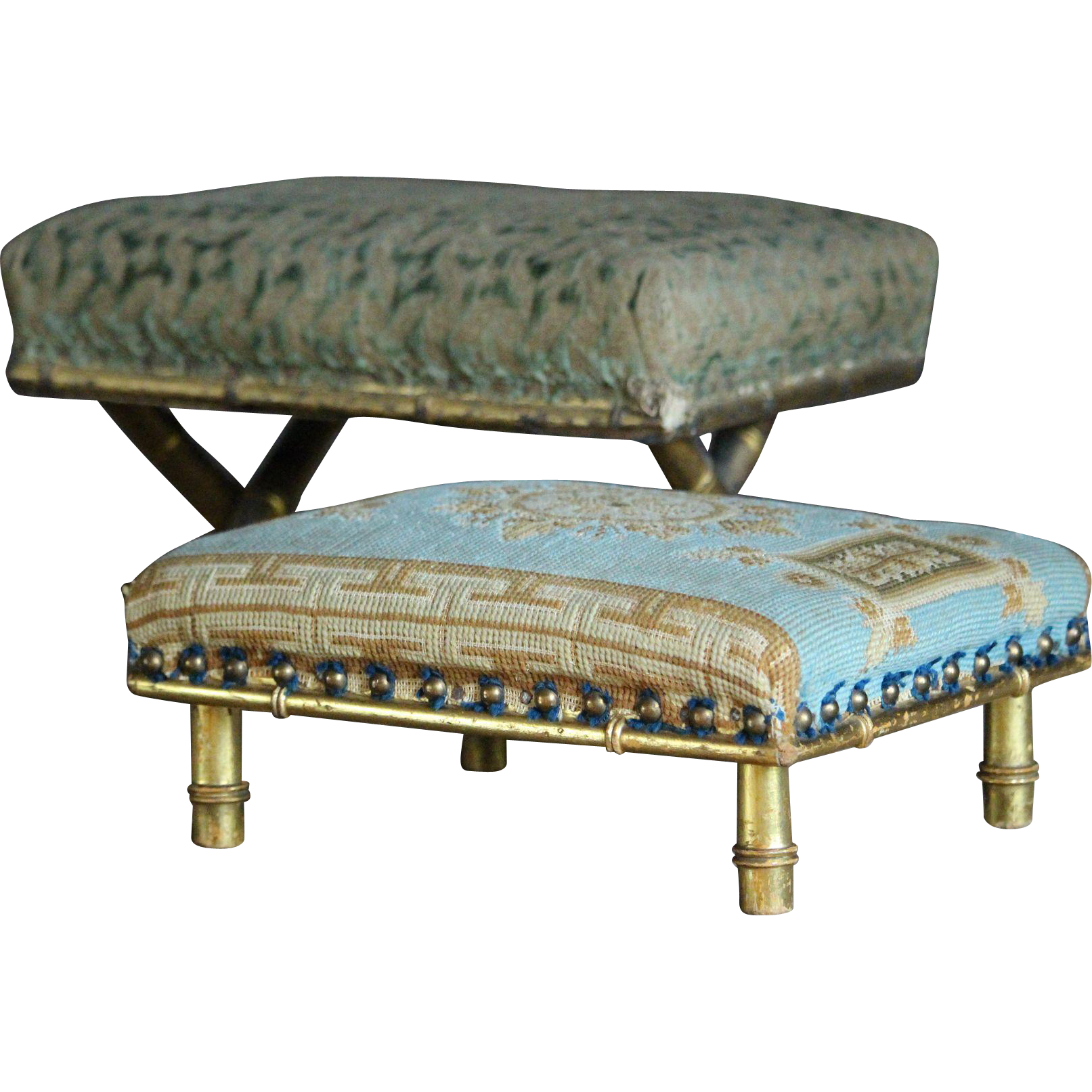 Antique English Upholstered Foot Stools